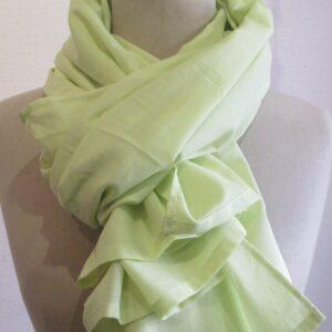 Echarpe – paréo – voile de coton jaune vert