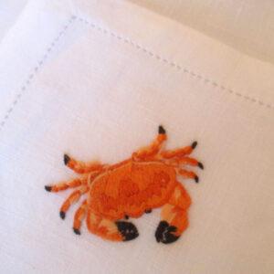 Serviettes de table brodés main crabe