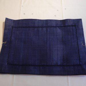 sets de table *6, raphia bleu indigo avec JV